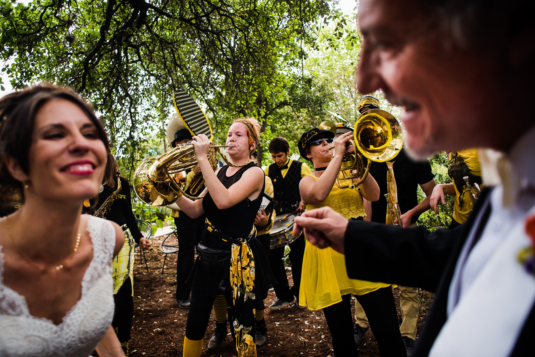 Austin Texas wedding photographers;Minor Mishaps marching band;texas wedding ceremony