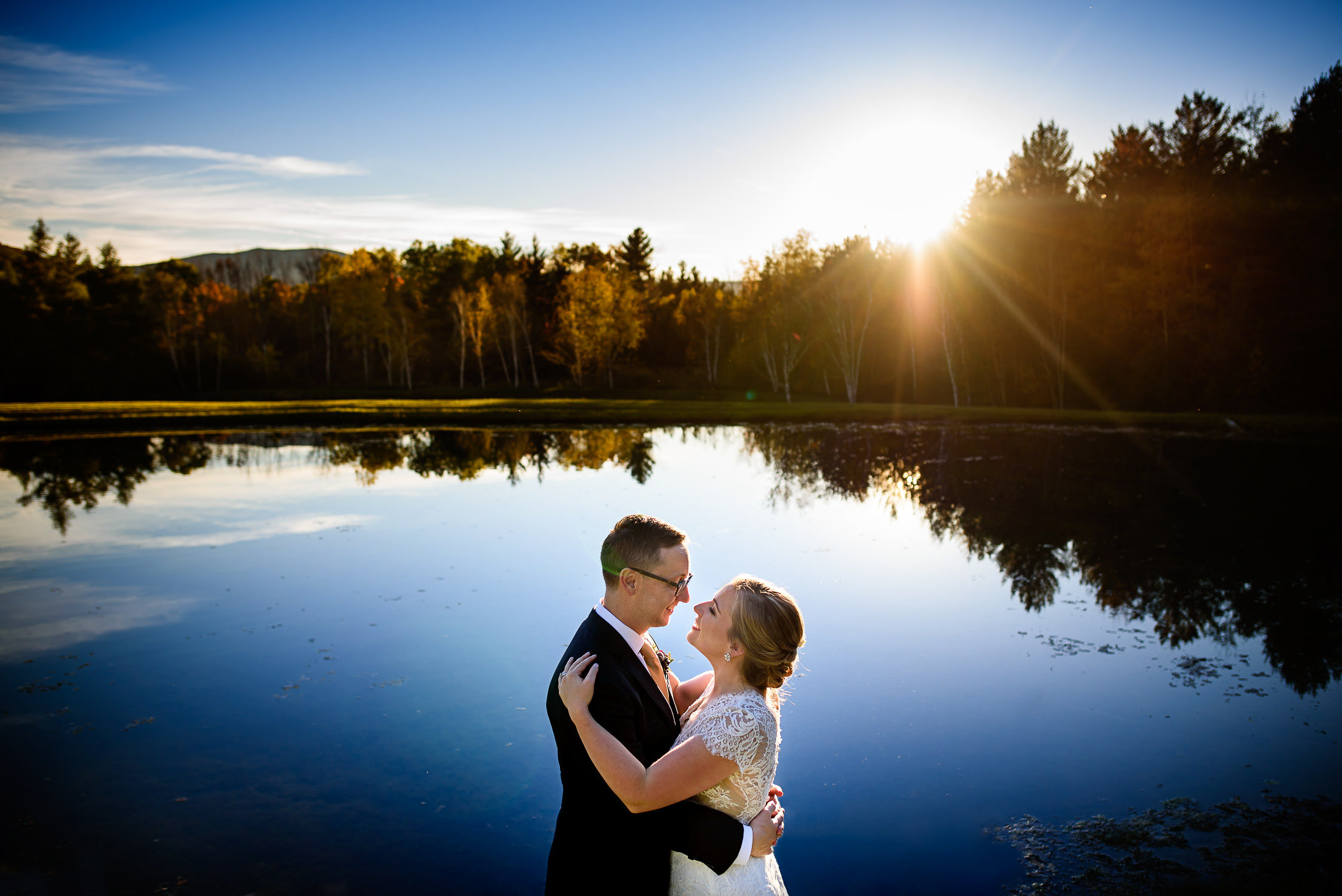 Barrows House Wedding in Dorset;Foliage;Pond;Sunset Wedding Portrait;Vermont wedding photographers