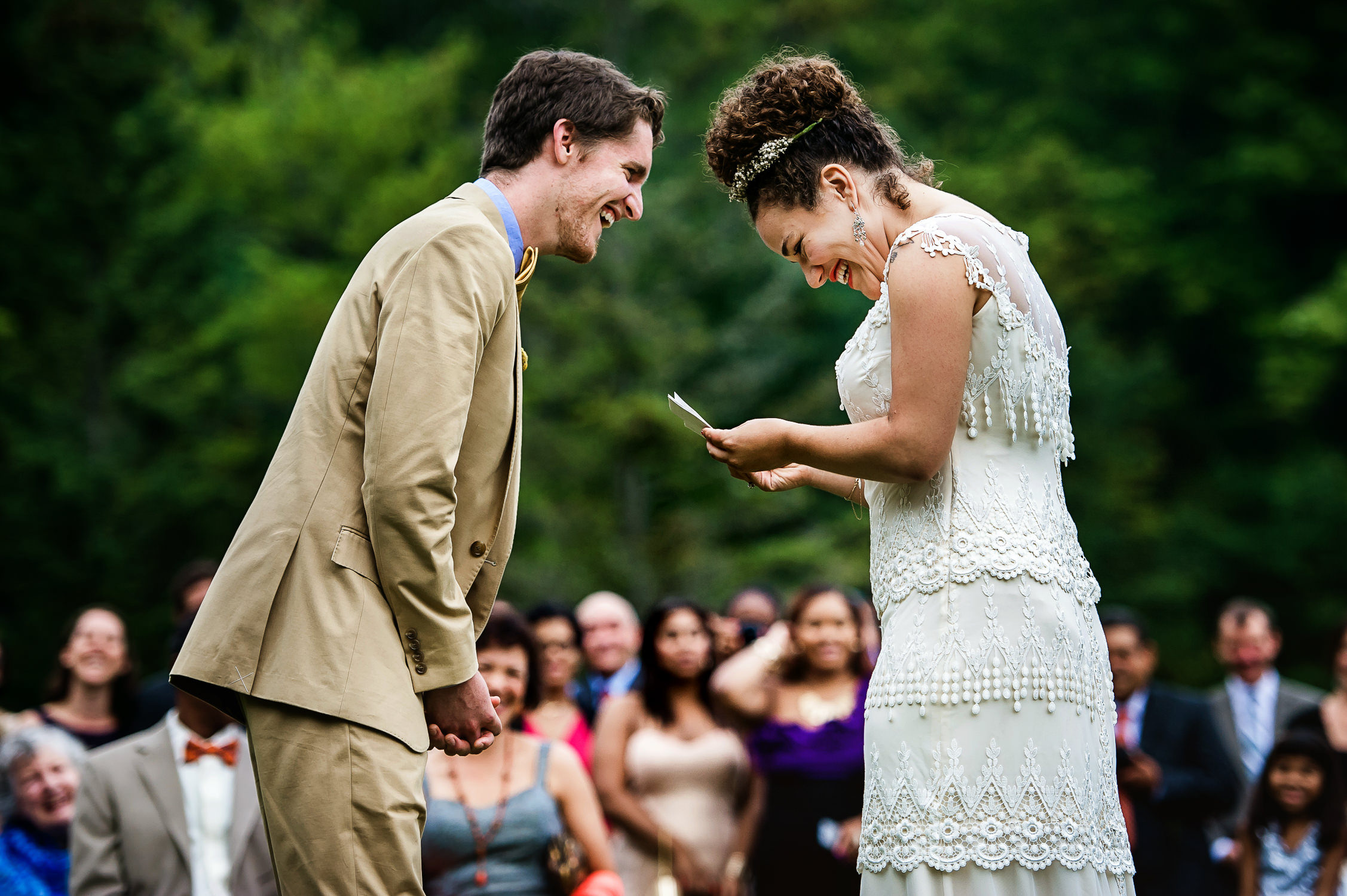 Vermont wedding photographers;fairlee vermont wedding;laughing during ceremony