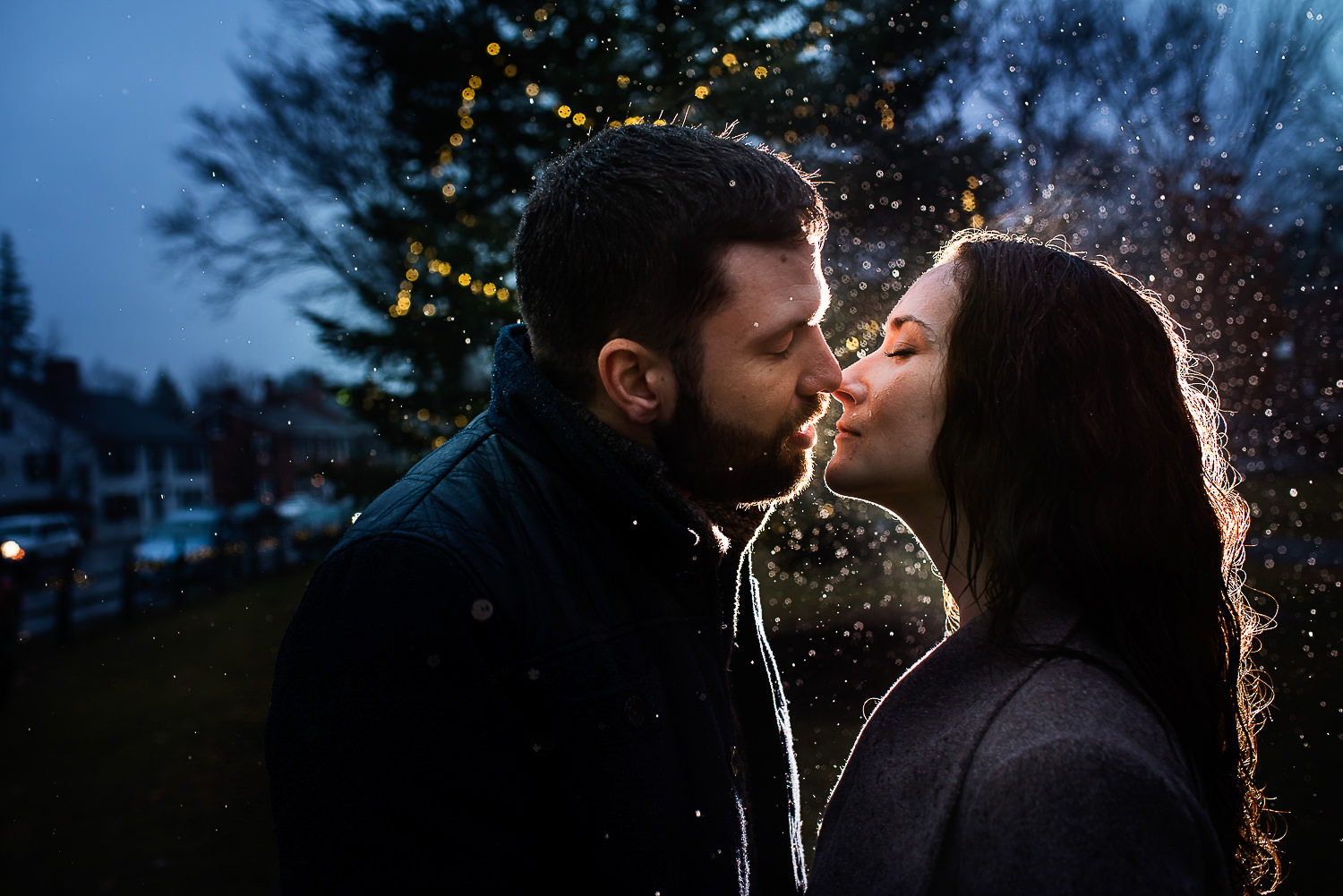 Kiss;Rain;Vermont Engagement Photos;Woodstock